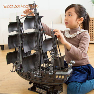 Super Huge 68 cm Big Queen Anne's Revenge of Pirates of the Caribbean  cardboard assembly sailling ship model building kits toys