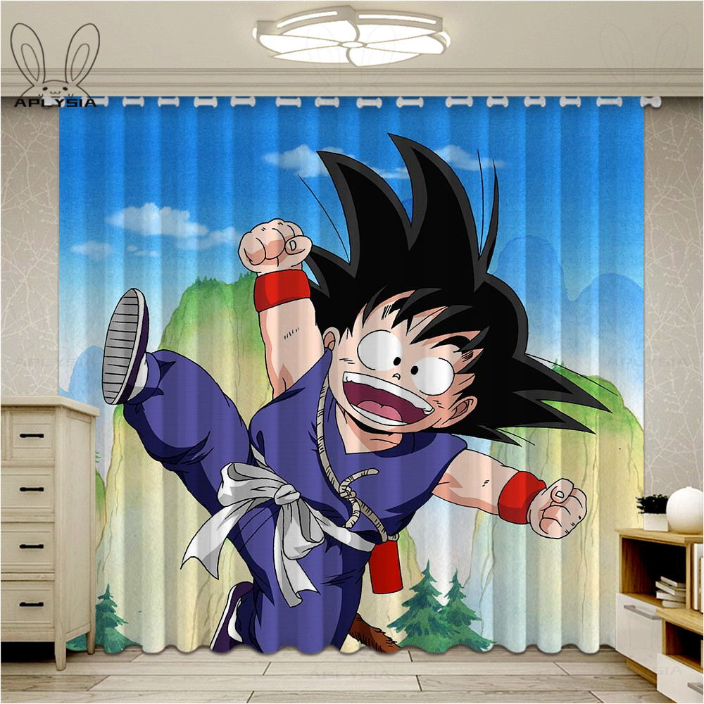 Popular Dragon Ball Curtains For Living Room Bedroom Colorful Blackout Curtain For Kids Window Treatment Drapes Home Decor