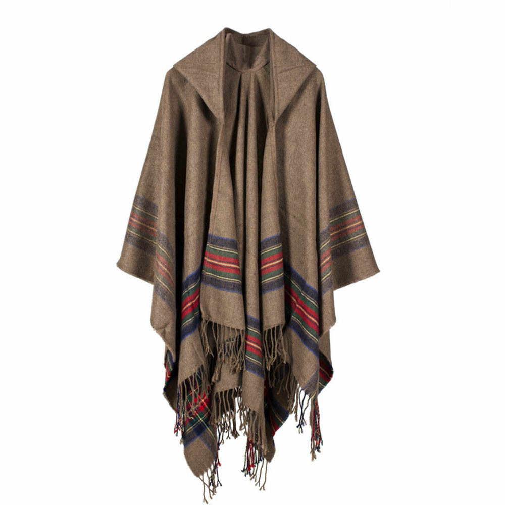 Tassel camisola capes mulheres inverno malha cashmere poncho xale cardigans casaco puxar femme alta qualidade truien dames feminino