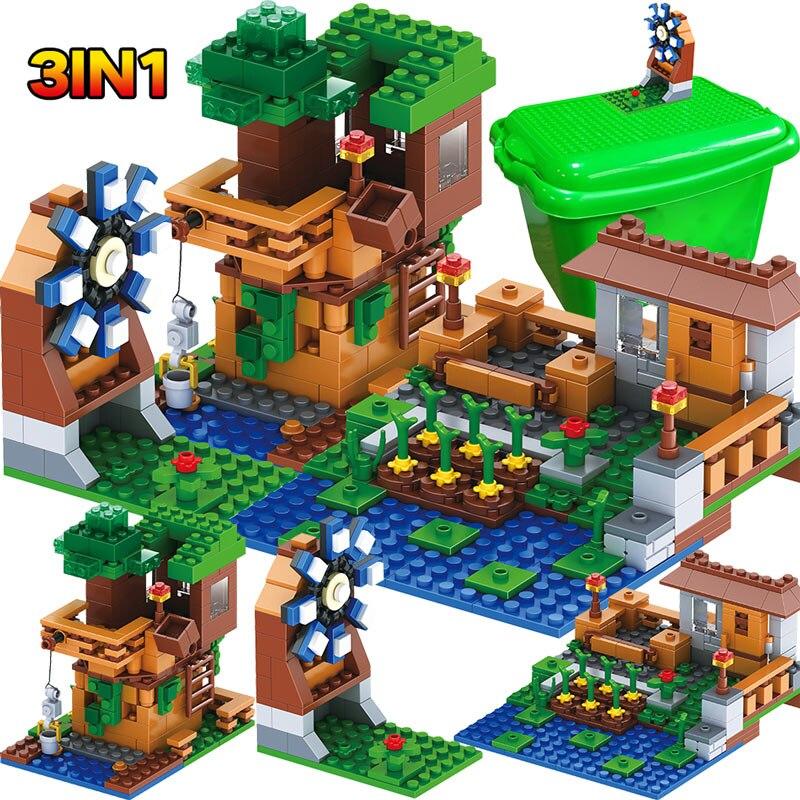 3 en 1 My World Series de luxe arbre maison Pet Village ferme avec soin Minecrafted moulin à vent blocs de construction briques ensembles enfants jouets