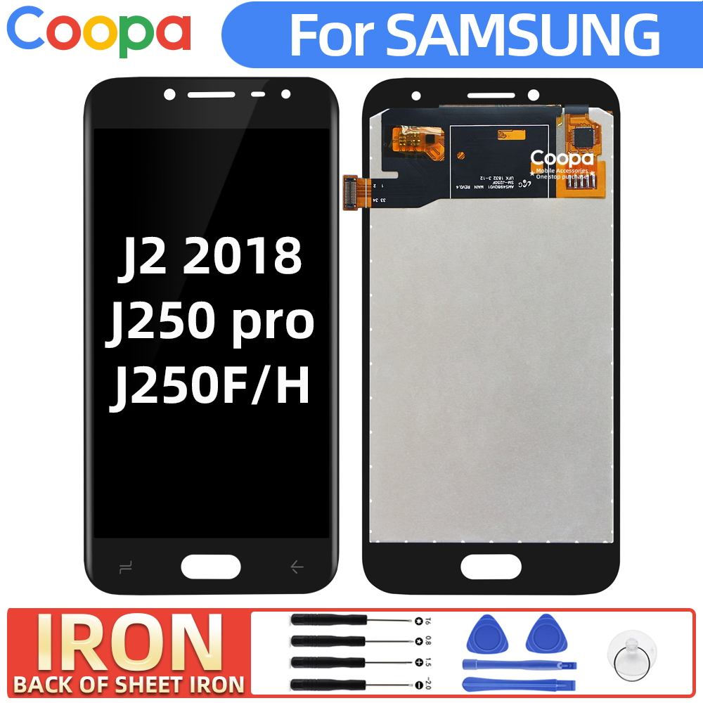 IRON LCD Screen For <font><b>Samsung</b></font> <font><b>Galaxy</b></font> <font><b>J2</b></font> pro <font><b>2018</b></font> J250 J250H <font><b>SM</b></font>-<font><b>J250F</b></font> LCD Display touch screen digitizer assembly Adjust Brightness image
