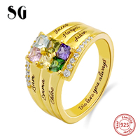 SG women's Rings 925 sterling silver for women Personalized fashion Custom birthday stone engraving ring jewelry for gifts