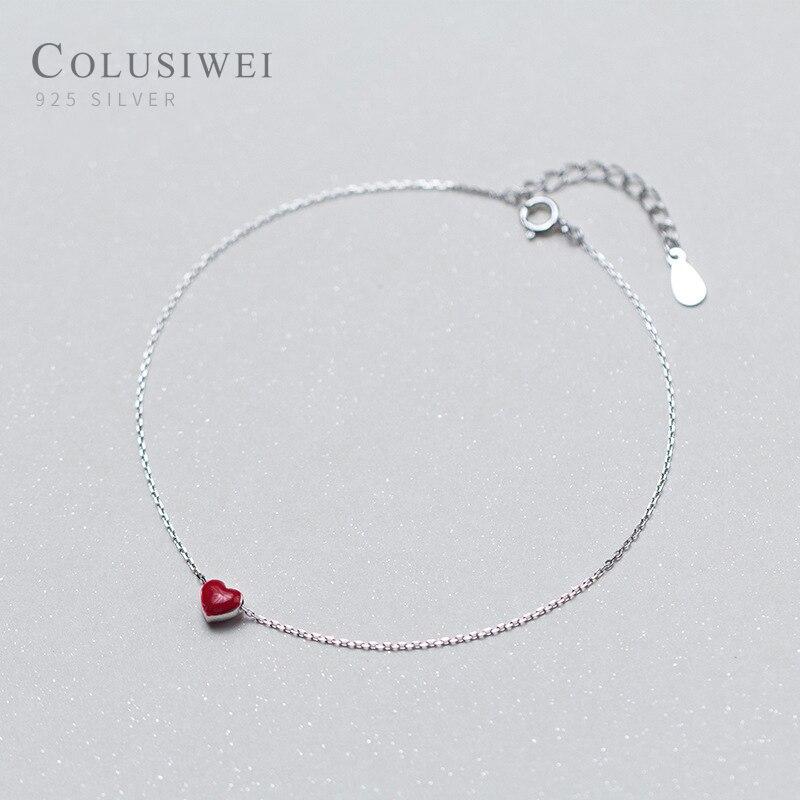 Colusiwei Cute Romantic Enamel Little Red Heart Bracelet for Ankle 925 Sterling Silver Foot Anklets Bracelets Jewelry for Leg