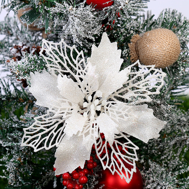 5PCS Artificial Christmas Flowers Glitter Fake Flower Merry Christmas Tree Decorations For Home 2020 Gift Xmas Ornament 4
