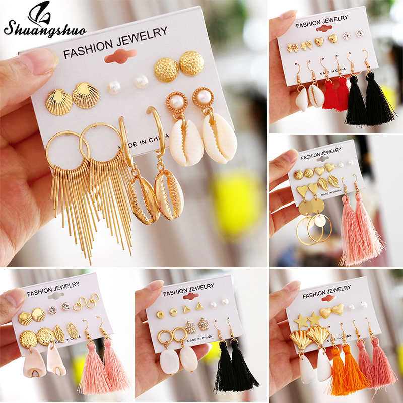 Shuangshuo Fashion Gold Geometric Earrings Sets for Women Girls Sea Shell Earings Boho Handmade Long Tassel Earring Wedding Gift