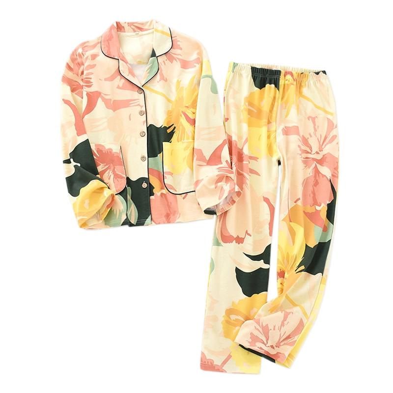 New Sweet Flowers 100% Cotton Pajamas Sets Women Sleepwear Korea Fresh Pure Cotton High Quality Pyjamas Women Homewear
