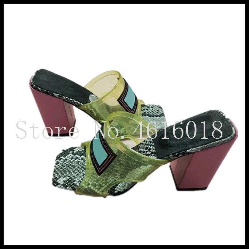 여자 슬라이드 투명 샌들 슬리퍼 디자인 하이힐 신발 여자 pvc 레이디 샌들 뮬 슬리퍼 럭셔리 브랜드 여자 신발-에서슬리퍼부터 신발 의  그룹 1