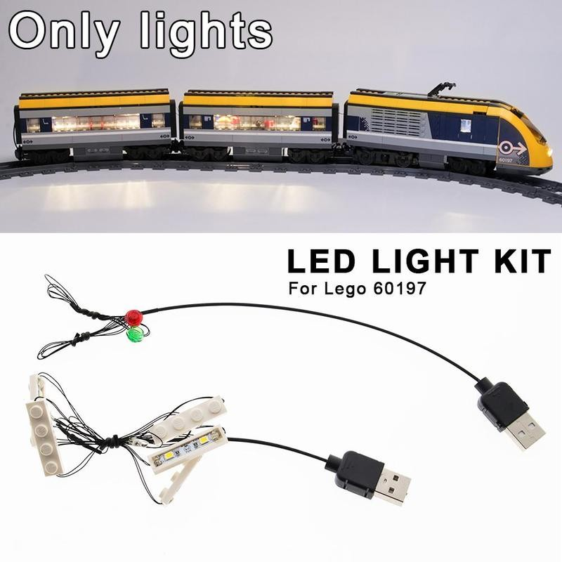Creative Assembled Building Blocks Led Light Kit For <font><b>Lego</b></font> <font><b>60197</b></font> DIY Passenger Train Building Blocks Model Led Lights Accessories image