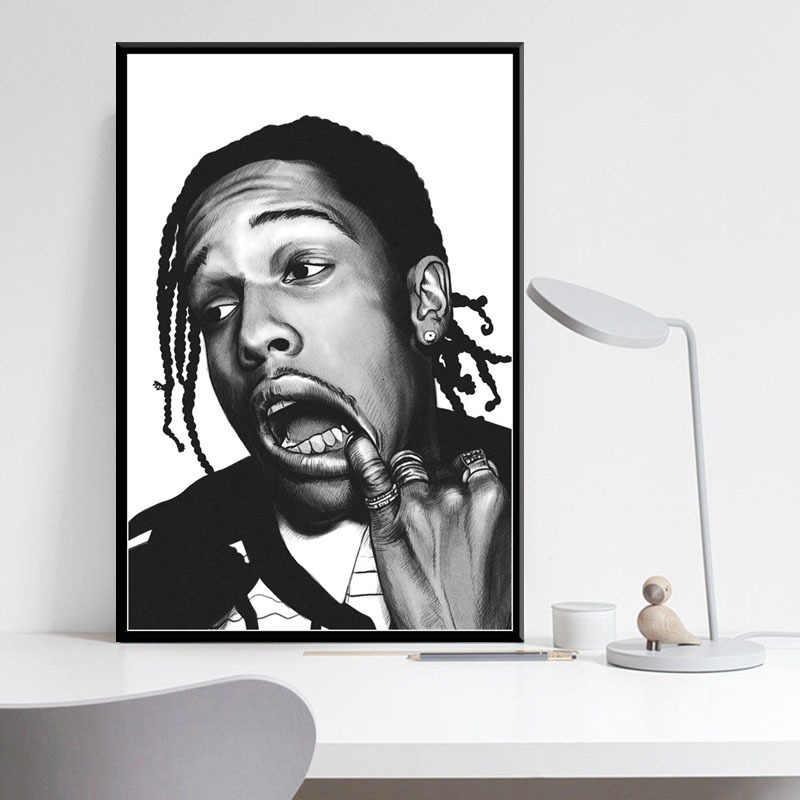 ASAP Rocky Rap Âm Nhạc Hip Hop Rapper Áp Phích Và Hình In Canvas Tranh Nghệ Thuật Treo Tường Hình Vintage Poster Trang Trí Trang Trí Nhà