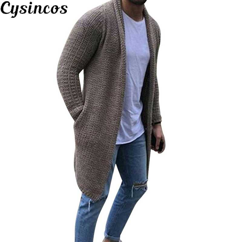 CYSINCOS  2019 New Cardigan Men Long Sleeve Midi Sweater Coat with Pocket Winter and Autumn Casual Solid Color Cardigans