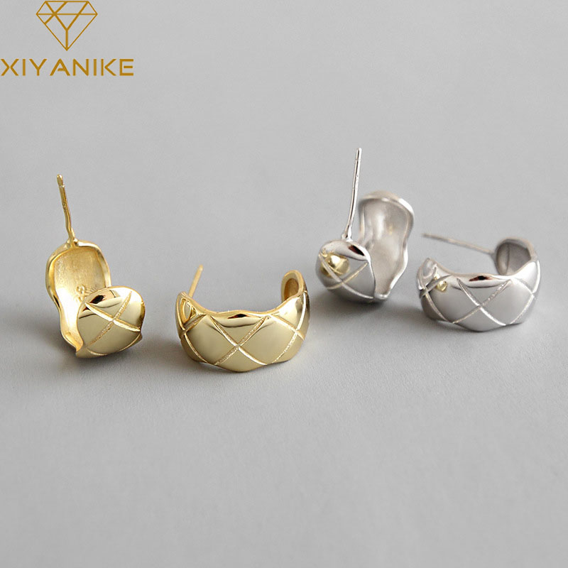 XIYANIKE Prevent Allergy 925 Sterling Silver Trendy Stud Earrings for Women Couples Minimalist Jewelry Geometric Party Gifts