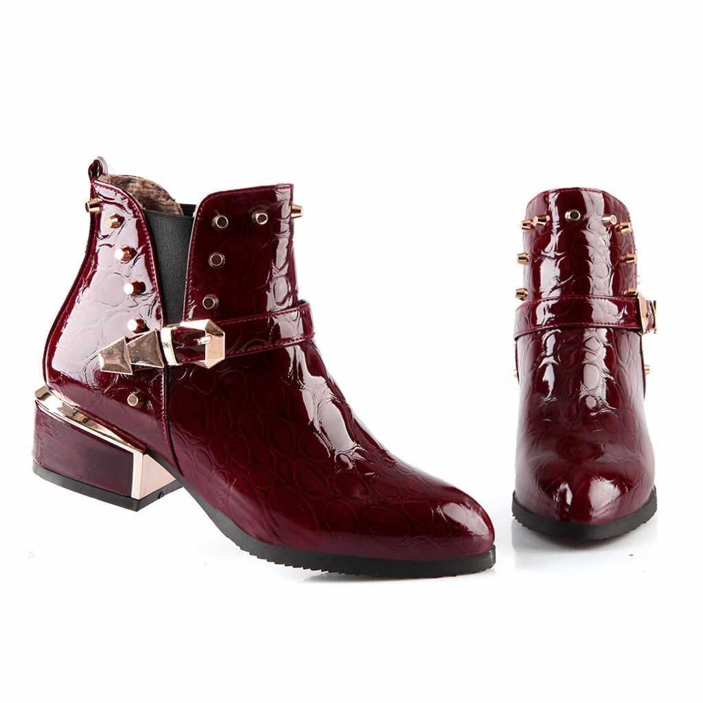 Kadınlar Patent deri serin sivri kalın yarım çizmeler moda toka ayakkabı
