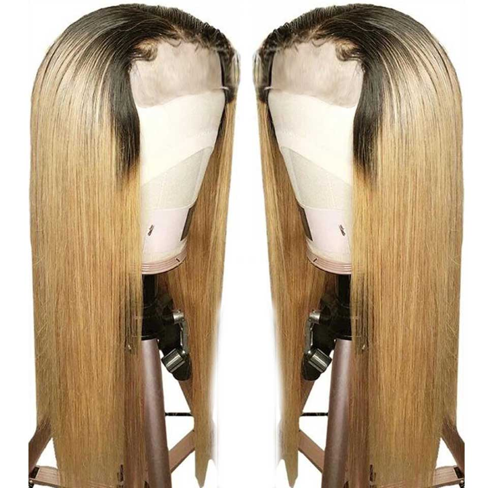 150% Ombre Straight Lace Front Human Hair Wig Highlights Honey Blonde 13x4 Non Remy Brazilian Lace Frontal Wigs For Black Women