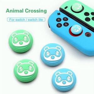 Image 4 - Hayvan geçişi köpek Isabelle ayı yaprak Thumb çubuk kavrama Cap Joystick kapak Nintendo anahtarı NS için Lite Joy con kumanda muhafazası