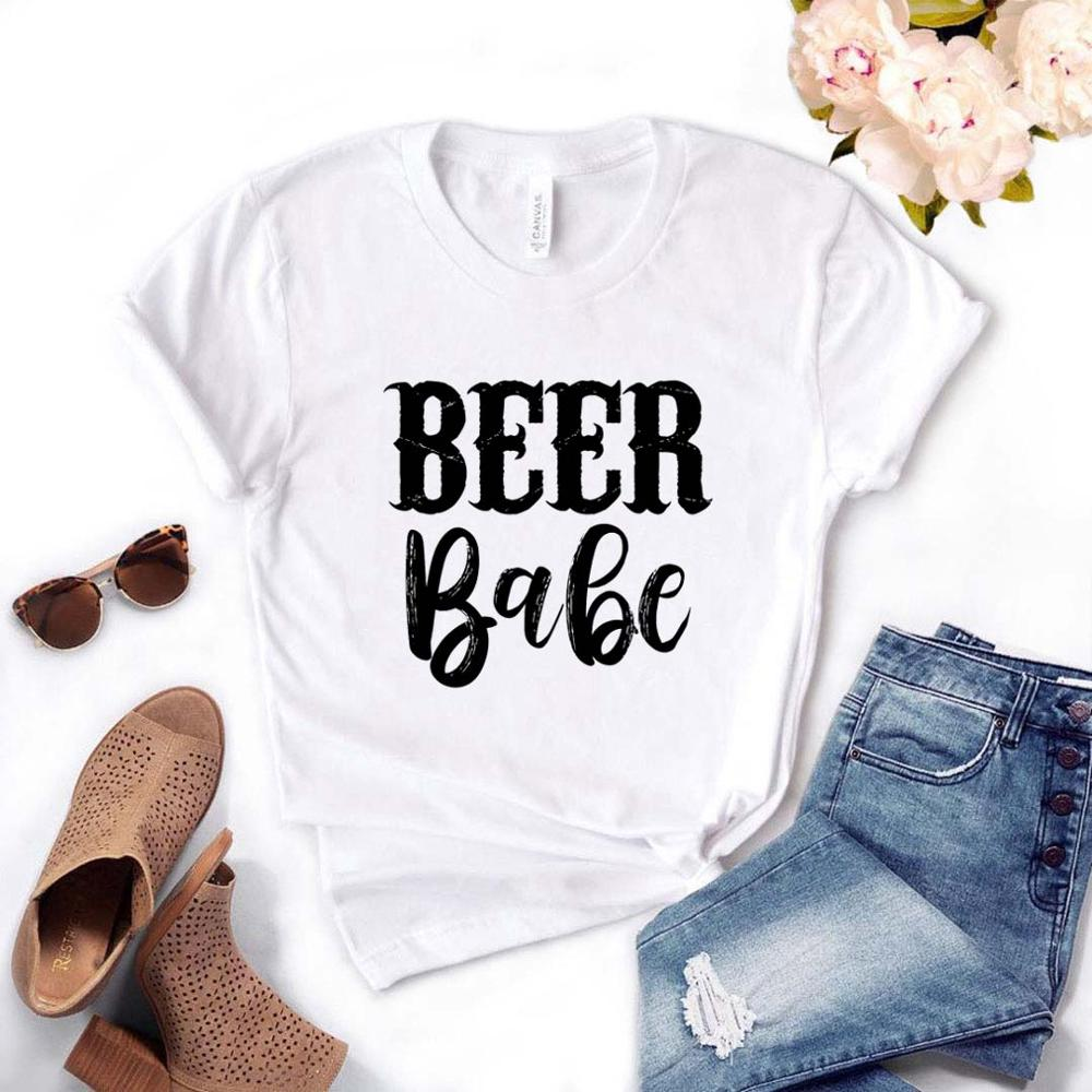 Beer Babe Print Women Tshirt Cotton Casual Funny T Shirt Gift For Lady Yong Girl Top Tee Drop Ship PM-5