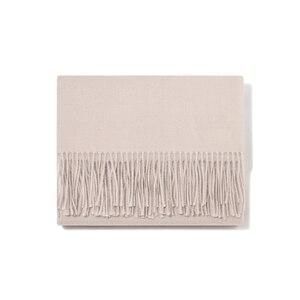 Image 5 - Индивидуальный однотонный шарф с кисточками для женщин, кашемировая зимняя шаль с вышивкой на заказ для женщин и девушек, шарф, массивный подарок