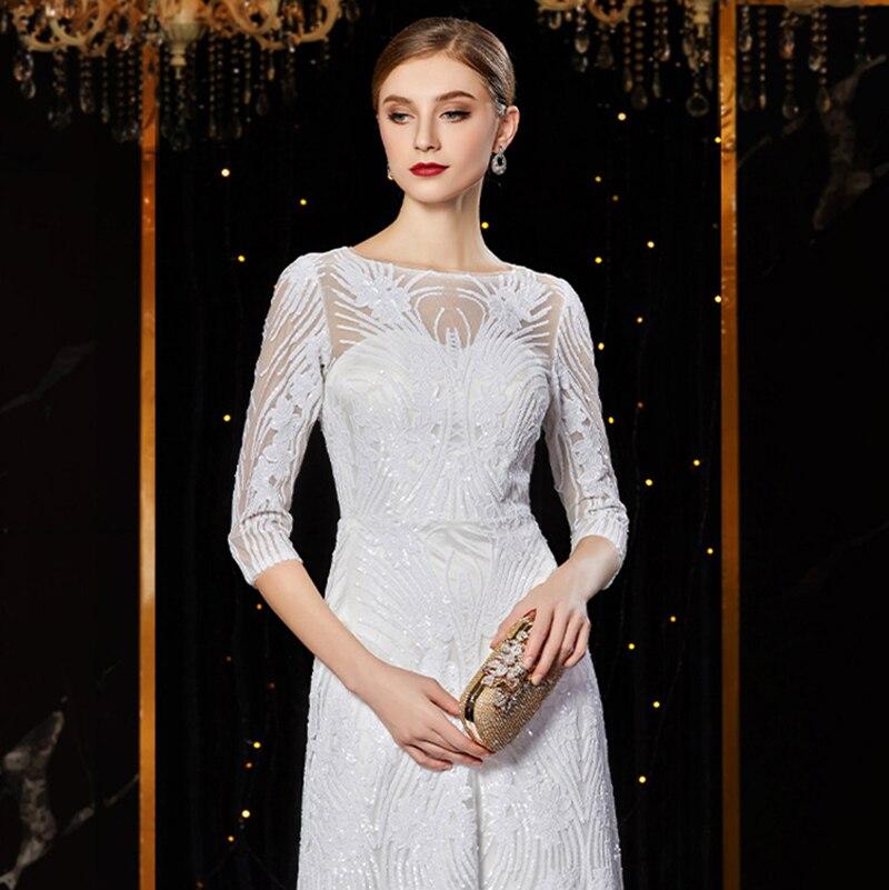 Image 5 - J1952 jancember cheap evening dress long o neck half sleeve pattren sequin lace ladies party dresses kleider damen abendkleidEvening Dresses   -
