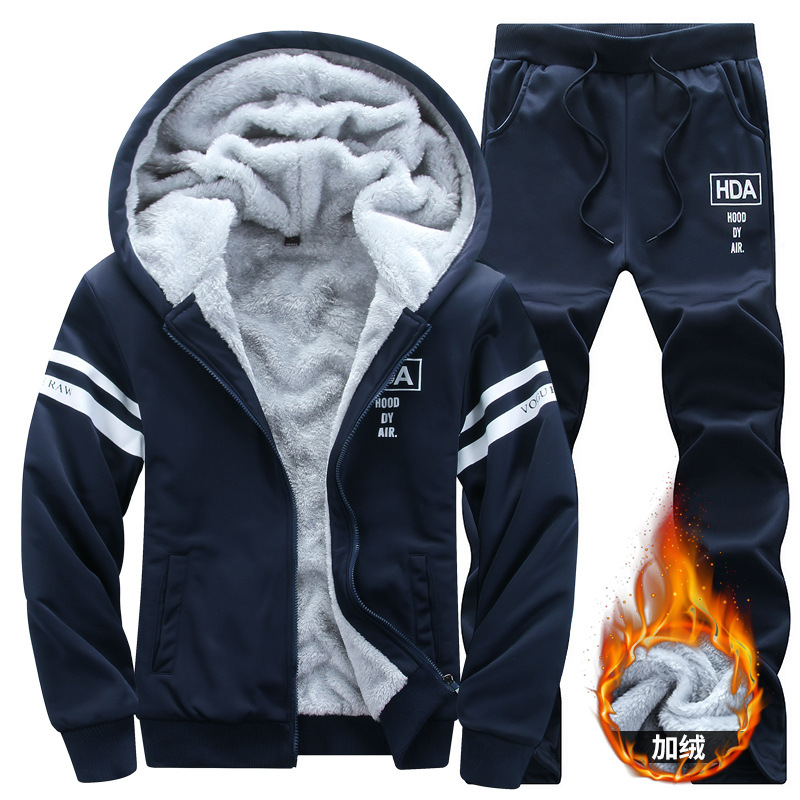 Brushed And Thick Leisure Suit Men's Hoodie Men 2019 New Style Fashion Two-Piece Set Warm Coat Long Pants