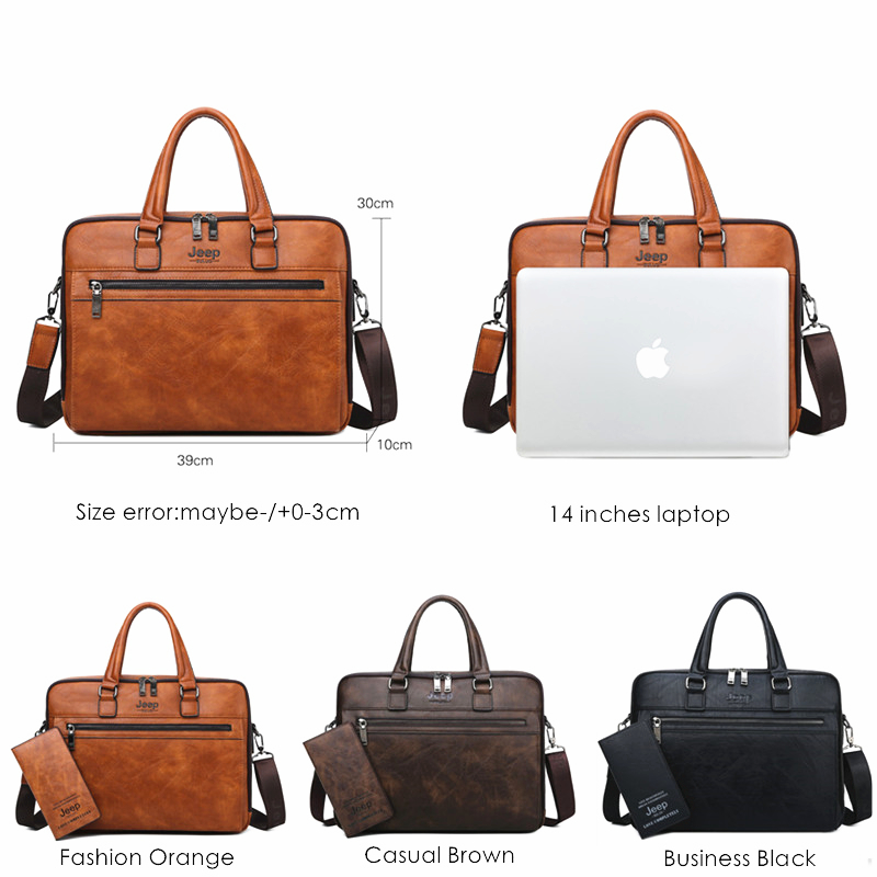 JEEP BULUO Brand New Style Shoulder Travel Bag For Man  High Quality  Men Business Briefcase Bags For 14 inch laptop A4 File