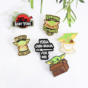 No Coffee ,No Forcee! Baby Yoda Enamel pin Strong Cuteness Lapel Pin Cartoon jewelry Accessories Brooch Gift For Kids