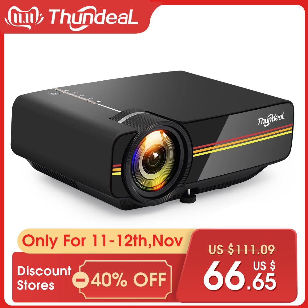 ThundeaL YG400 up YG400A Mini Projector 1800 Lumen Wired Sync Display More stable than WiFi Beamer Movie AC3 HDMI VGA Projector-in LCD Projectors from Consumer Electronics