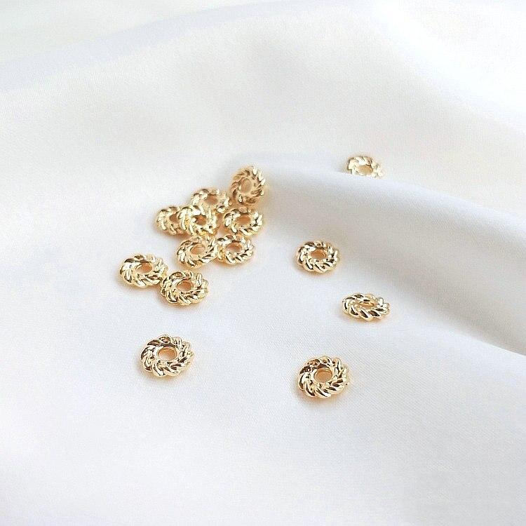 20 шт 14 к позолоченные латунные 4 мм 6 мм круглые бусины-разделители плоские бусины для браслетов высокого качества Diy ювелирные аксессуары