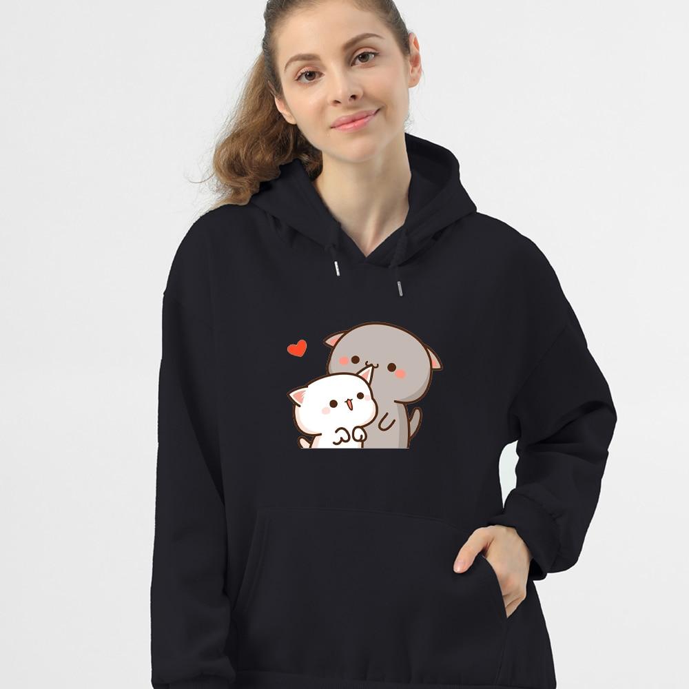Women Hoodie Kawaii Couple Sweatshirt Cotton Long-sleeved Harajuku Hoodies Pocket Pattern Print Hoody Plus Size Korean Clothes 9