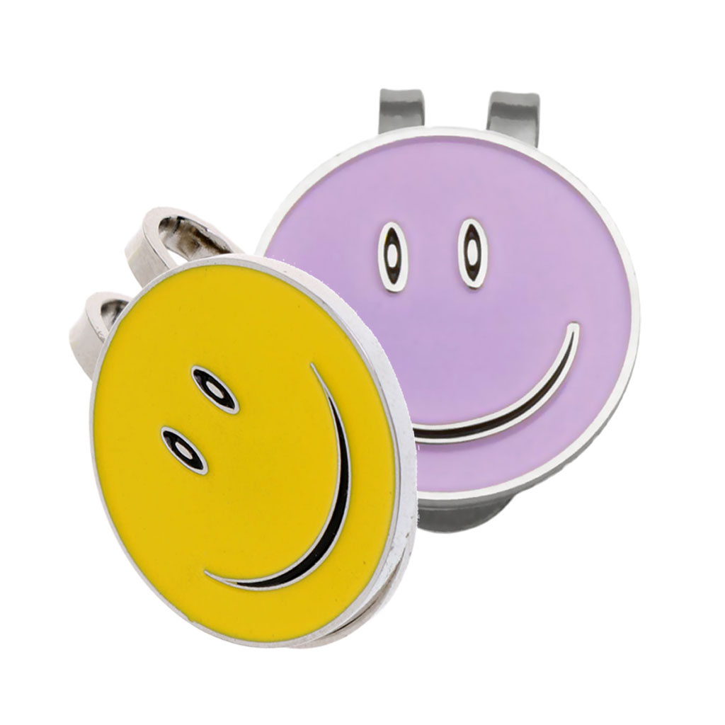 2 Pieces Funny Happy Face Golf Ball Markers With Magnetic Golf Hat Clip (Purple + Yellow)