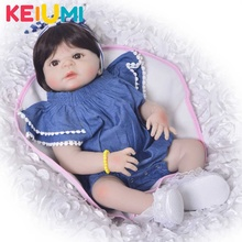 New Style 23 Realistic Reborn Baby Girl Doll Full Silicone Vinyl Adorable Toy Wear Cowboy Romper Kid Birthday Gift