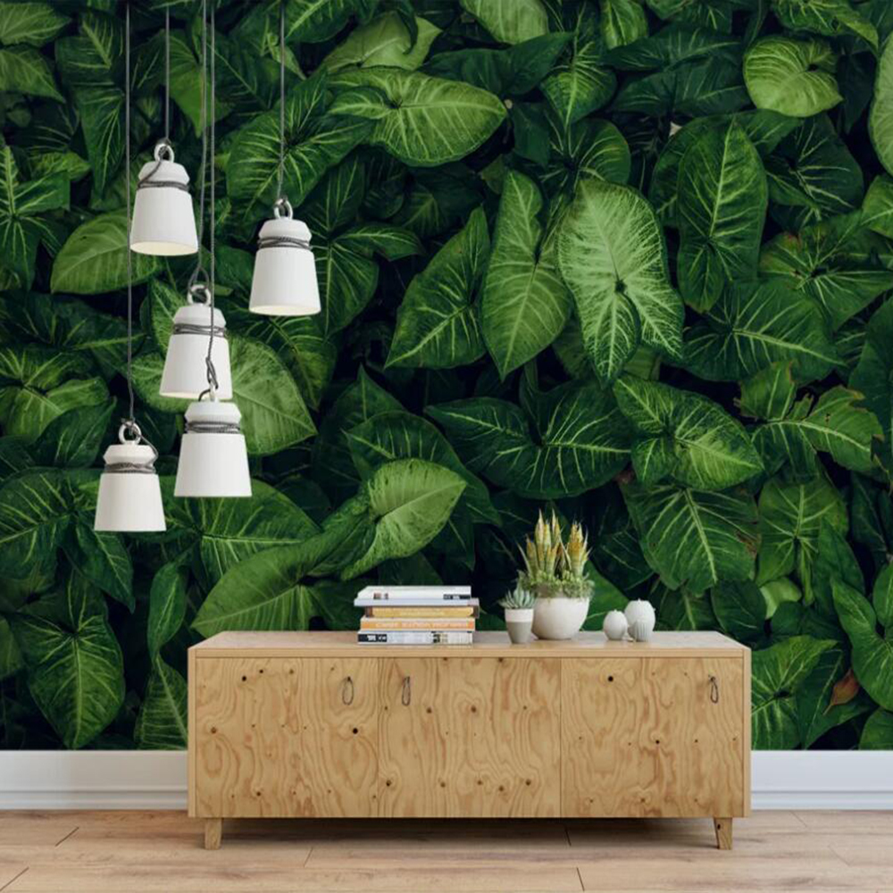 Custom 3D Photo Wallpaper Fresh Green Tropical Rainforest Leaves Full Shop TV Background Wall Decoration Mural Wallpaper