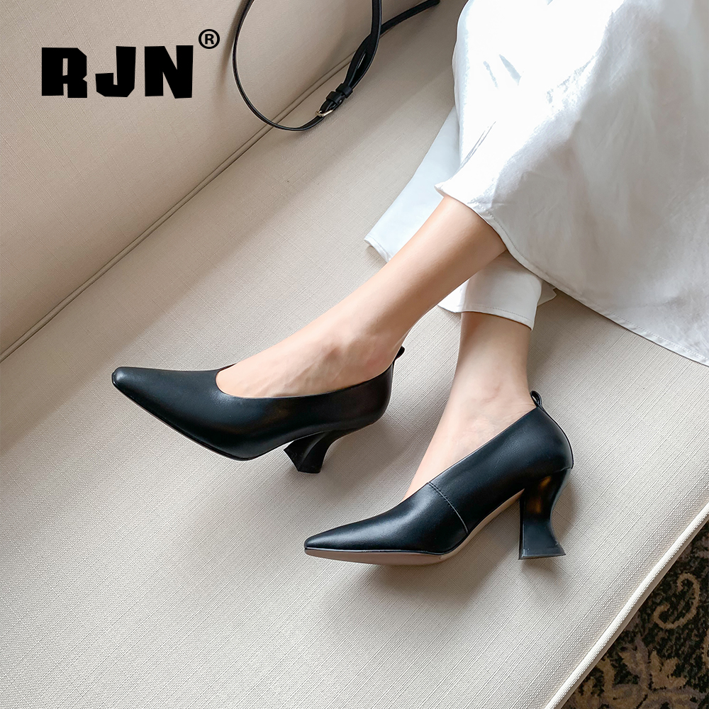 Hot Sale RJN New Lady Pumps High Quality Cow Leather Fashion Strange Heel Sexy Pointed Toe Handmade Shoes Office Solid Shallow Pumps RO73