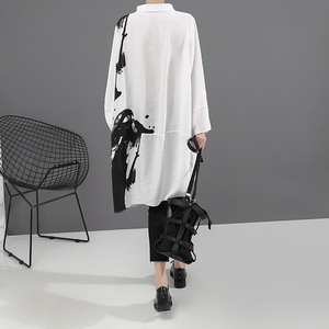 Image 5 - [EAM] النساء أسود أبيض طباعة كبيرة حجم اللباس المعتاد جديد التلبيب كم طويل فضفاض صالح الأزياء المد الربيع الخريف 2020 1A923