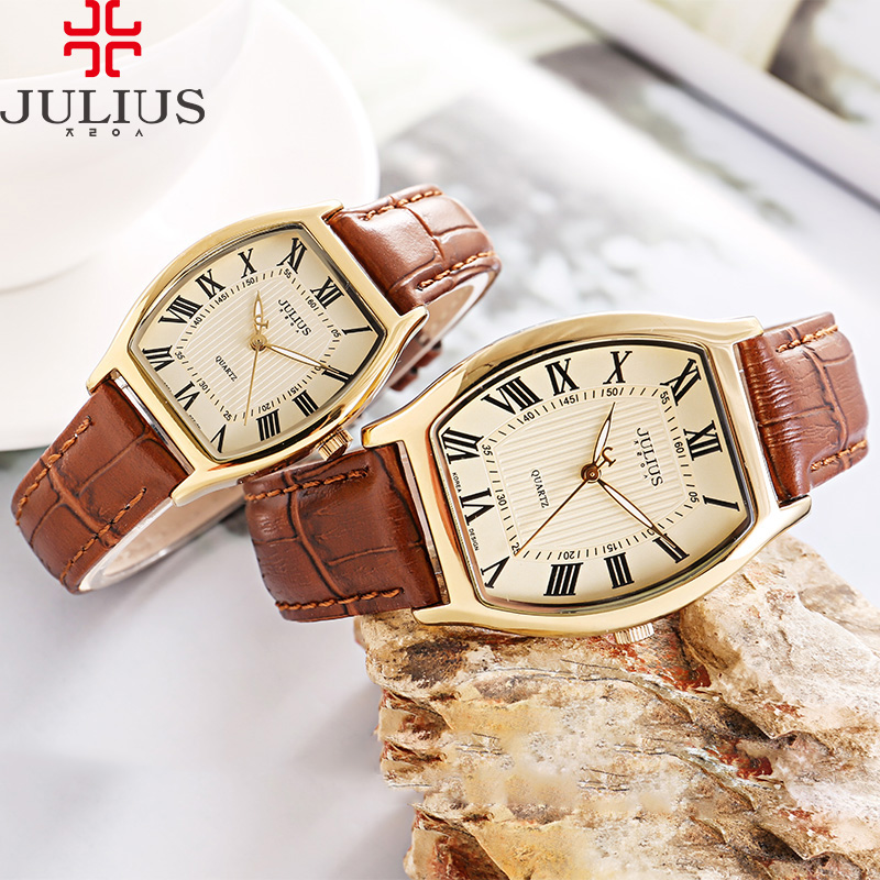 Classic Men's Watch Women's Watch Japan Quartz Couple Hours Fine Business Retro Real Leather Clock Lover's Gift Julius Box