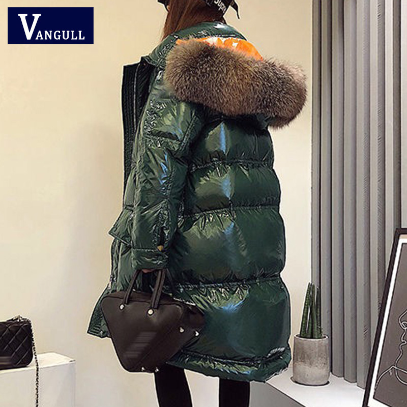 Vangull Glossy Women Winter Jacket Big Fur Collar Winter Coat Women Long Down   Parka   Lady Hooded   Parkas   Warm Cotton Jackets Slim
