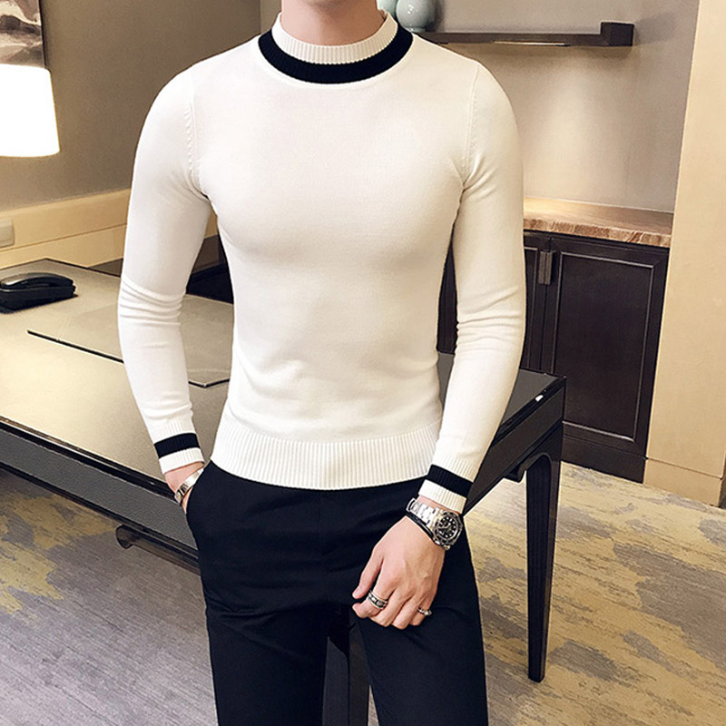 2019 New Autumn Men Sweater Pull Homme Fashion Casual Warm Solid Color O- Neck Slim Bottoming Male Knitted Pullover White Black