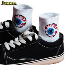 Women Cartoon Eyes Fashion Socks Street Wild Hiphop Casual Letter Solid White Black Vintage Cotton Harajuku Europe Style