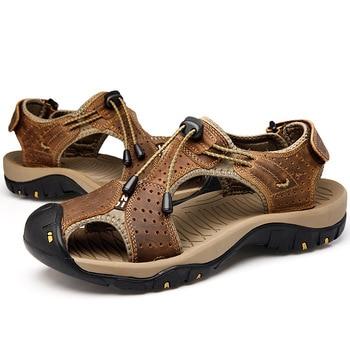 Leisure Nice Gladiator Sandals For Men Front Rear Strap Basic Beach Sandals Flat Casual Hook Loop Sandale Homme