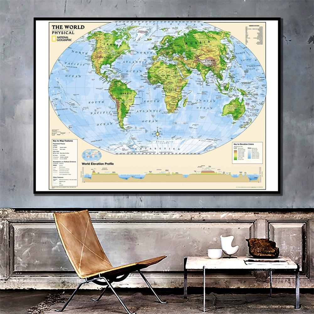 24x36 Inches The World Physical Map With Key To The Map Features HD Spray Painting Home Wall Maps For Home Decoration