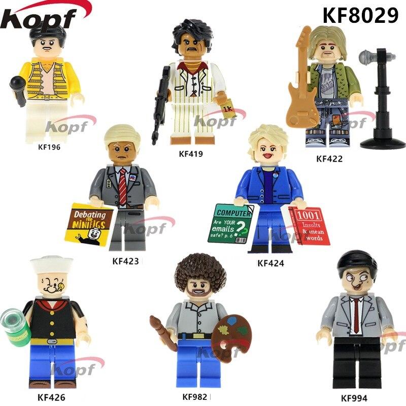KF8029 Single Sale Super Heroes Building Blocks Trump Hillary Clinton Popeye Mr.Bean Freddie Mercury Model Toys For Children