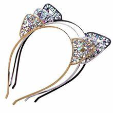 Ободок с кошачьими ушками для девочек, металлическая повязка на голову со стразами, модный головной убор с бриллиантами, аксессуары, заколка для волос