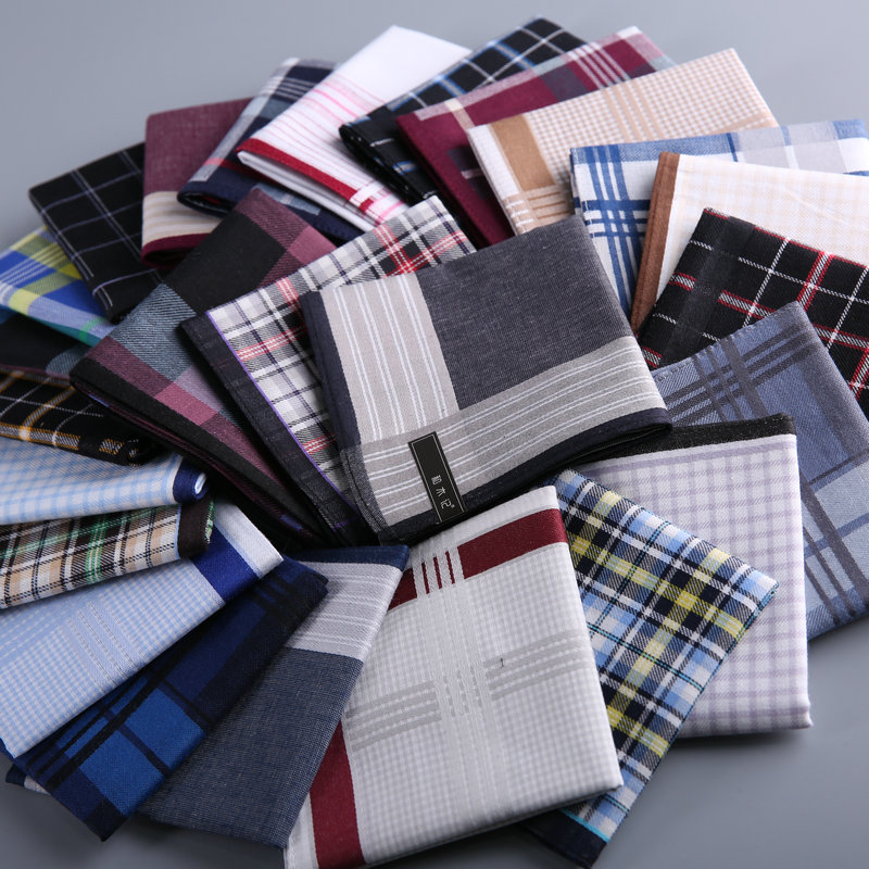 Handkerchief Male Cotton Brief Geometric Plaid Print Soft And Thin For Men