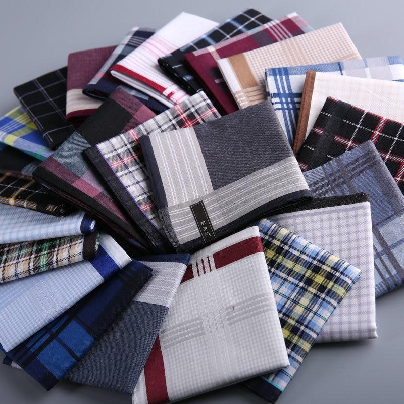 Handkerchief male cotton brief geometric plaid print soft and thin for men