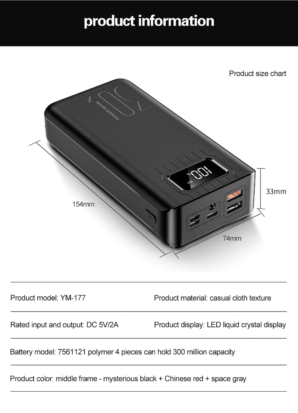 LED USB 30000mAh For 1