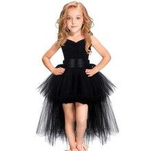 Preto meninas tutu vestido tule com decote em v trem menina noite vestidos de festa de aniversário crianças menina vestido de baile vestido de halloween traje 1 14yy