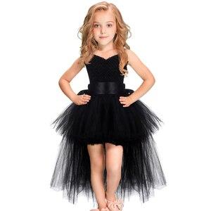 Image 1 - Robe Tutu pour filles noires, robe en Tulle avec col en v, robe de soirée pour fête anniversaire, Costume dhalloween, 1 14 ans