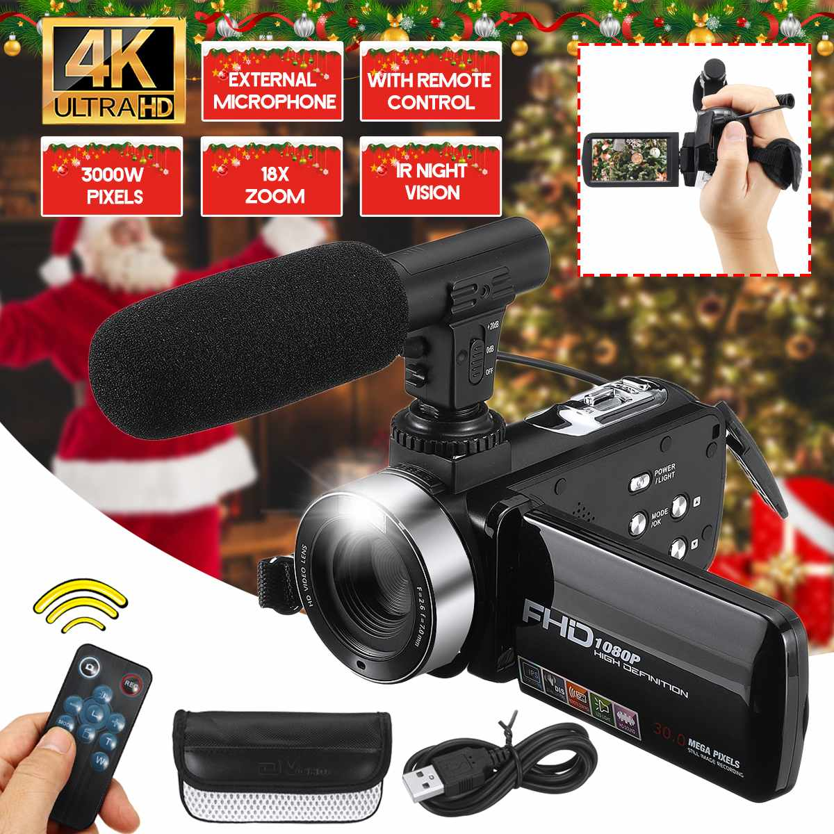 Professional 30MP 4K HD Camcorder Video Camera Night Vision 3.0 Inch LCD Camera 18X digital zoom Camera With Mic