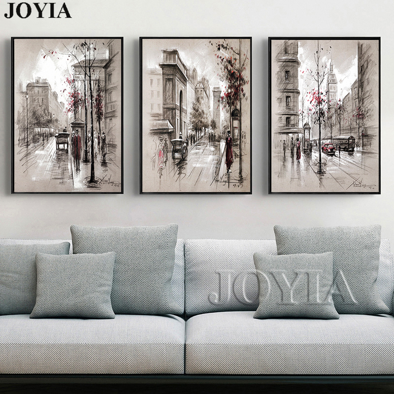 Home Decor Canvas Wall Art Vintage City Street Landscape Paintings For Living Room Wall 3 Piece Retro Paris Picture Set No Frame Picture For Living Room Wall Picturescanvas Painting Aliexpress