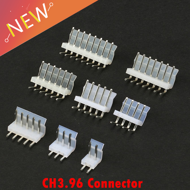 50Pcs/lot Connector CH3.96 3.96 Side Entry Pitch:3.96MM 90 Degree Pin Header 4AW 5AW 6AW 7AW 8AW