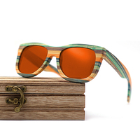 Wayfarer full - Bambou teinte verte - Orange - Coffret en bois