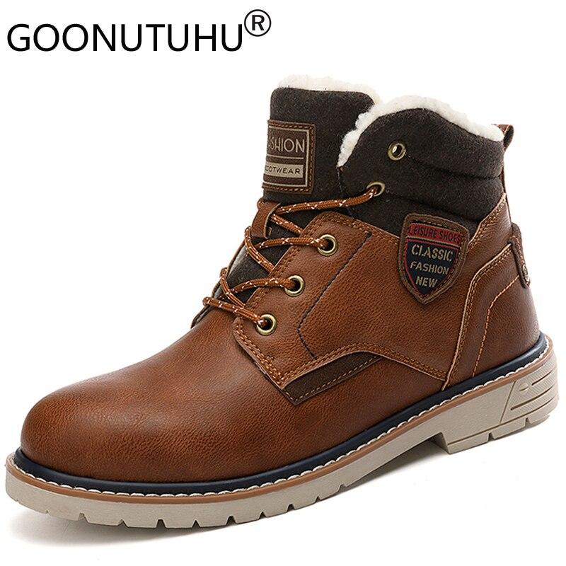 2019 hiver bottes de neige pour hommes décontracté chaussures en cuir mâle cheville armée botte homme chaussure belle bois terre bottes militaires pour hommes offre spéciale